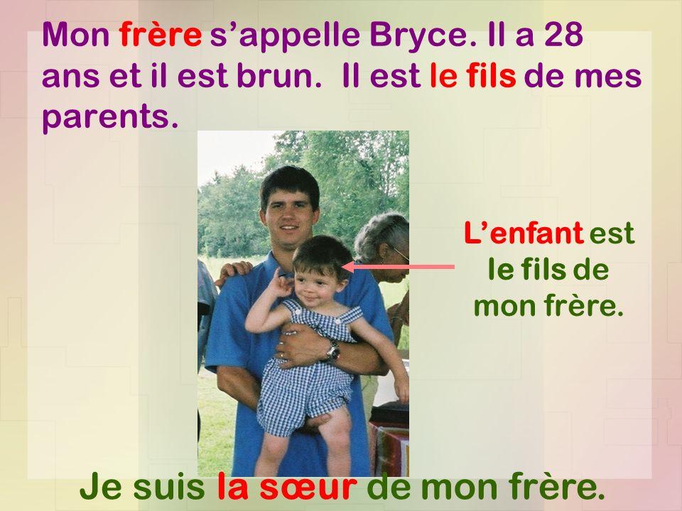 Mon frère sappelle Bryce.Il a 28 ans et il est brun.
