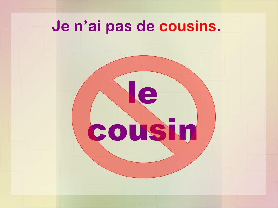 Je nai pas de cousins. le cousin