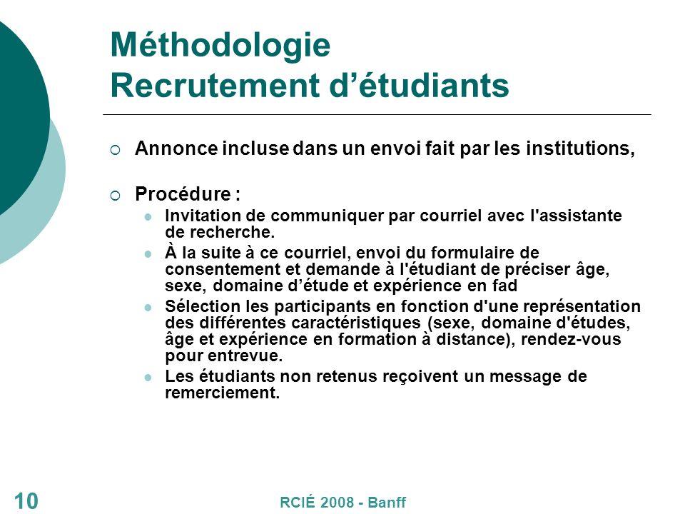 Méthodologie Recrutement détudiants Annonce incluse dans un envoi fait par les institutions, Procédure : Invitation de communiquer par courriel avec l assistante de recherche.