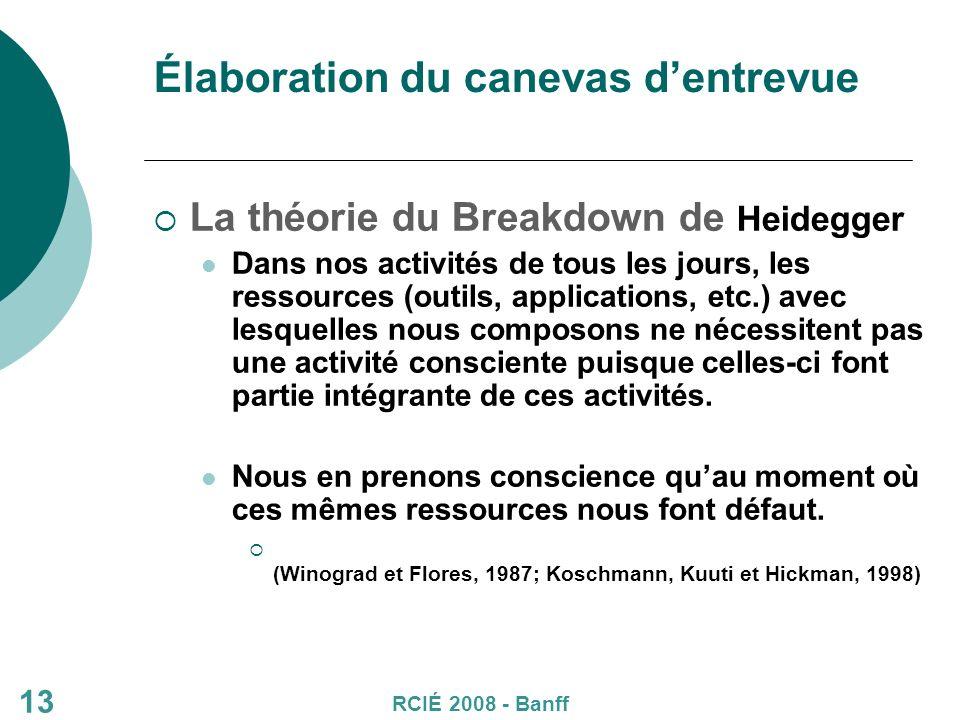 Élaboration du canevas dentrevue La théorie du Breakdown de Heidegger Dans nos activités de tous les jours, les ressources (outils, applications, etc.) avec lesquelles nous composons ne nécessitent pas une activité consciente puisque celles-ci font partie intégrante de ces activités.