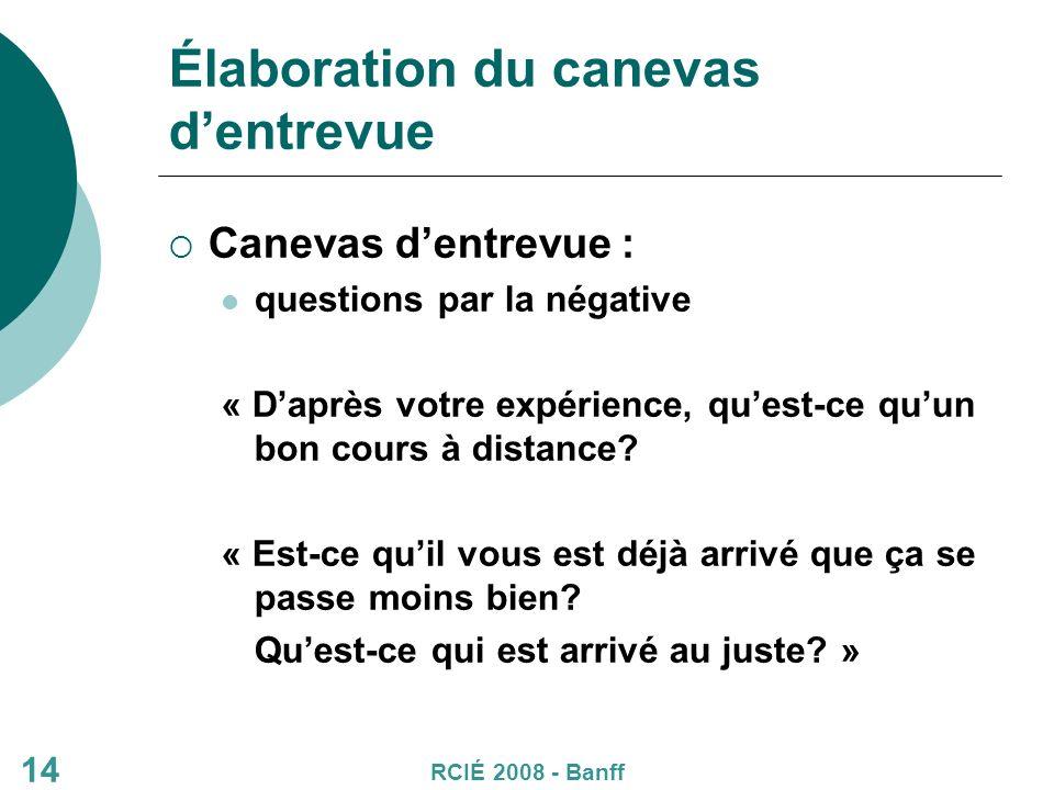 Élaboration du canevas dentrevue Canevas dentrevue : questions par la négative « Daprès votre expérience, quest-ce quun bon cours à distance.