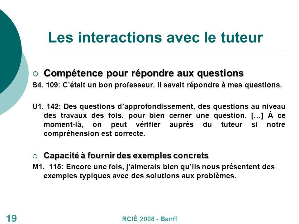 19 Les interactions avec le tuteur Compétence pour répondre aux questions Compétence pour répondre aux questions S4.