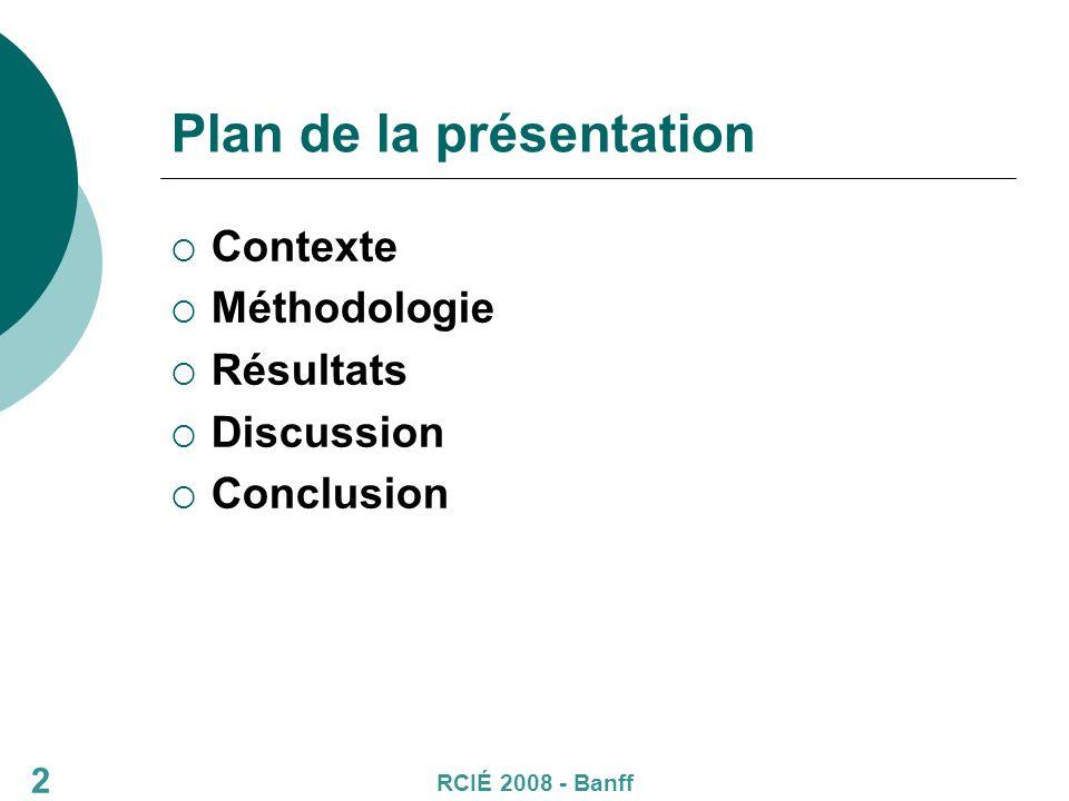 Plan de la présentation Contexte Méthodologie Résultats Discussion Conclusion RCIÉ 2008 - Banff 2