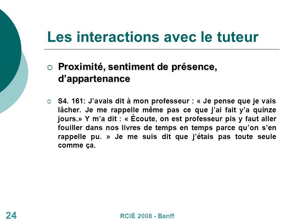 24 Les interactions avec le tuteur Proximité, sentiment de présence, dappartenance Proximité, sentiment de présence, dappartenance S4.