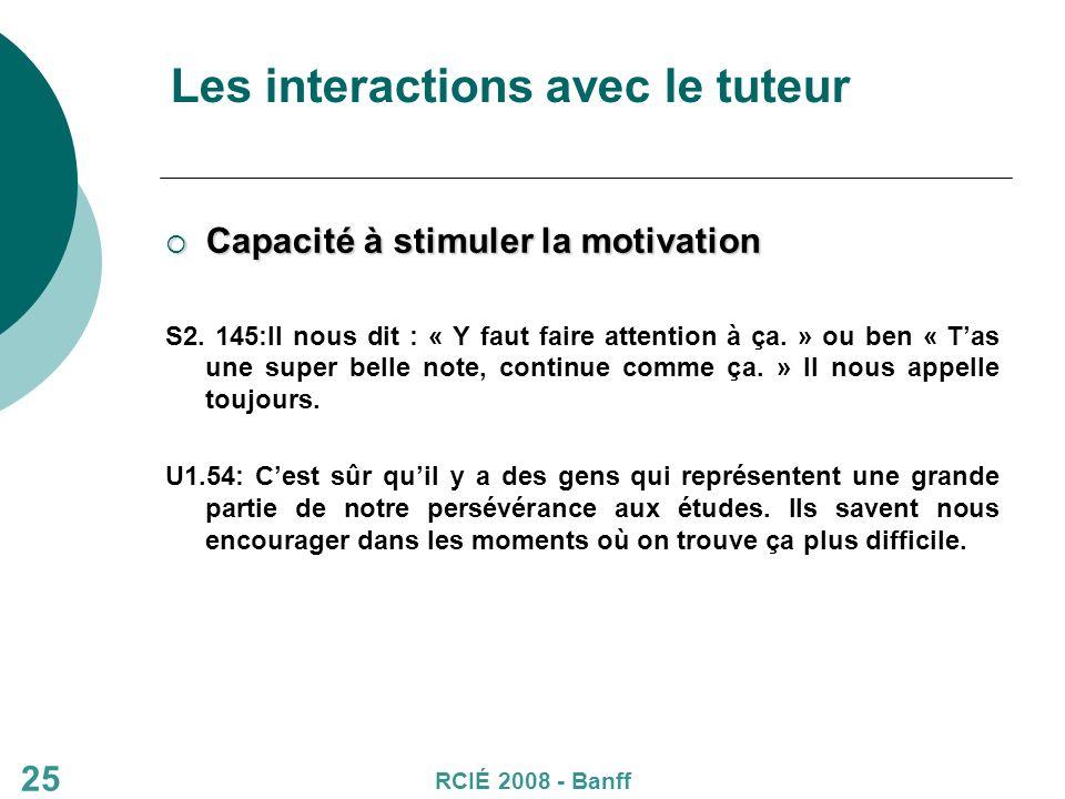 25 Les interactions avec le tuteur Capacité à stimuler la motivation Capacité à stimuler la motivation S2.