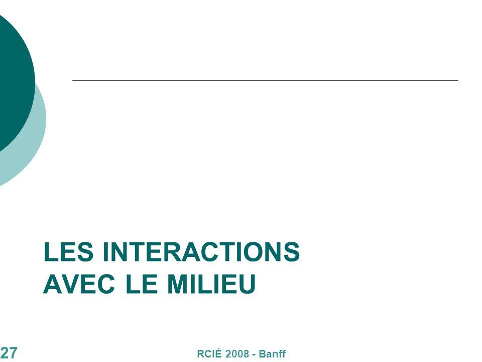 27 LES INTERACTIONS AVEC LE MILIEU RCIÉ 2008 - Banff