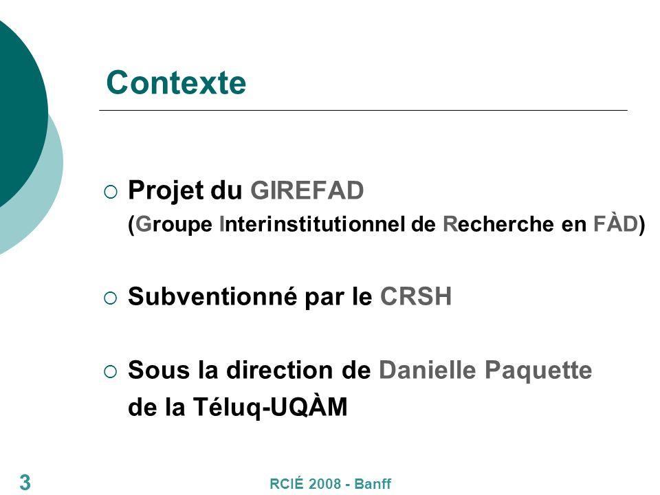3 Contexte Projet du GIREFAD (Groupe Interinstitutionnel de Recherche en FÀD) Subventionné par le CRSH Sous la direction de Danielle Paquette de la Téluq-UQÀM RCIÉ 2008 - Banff