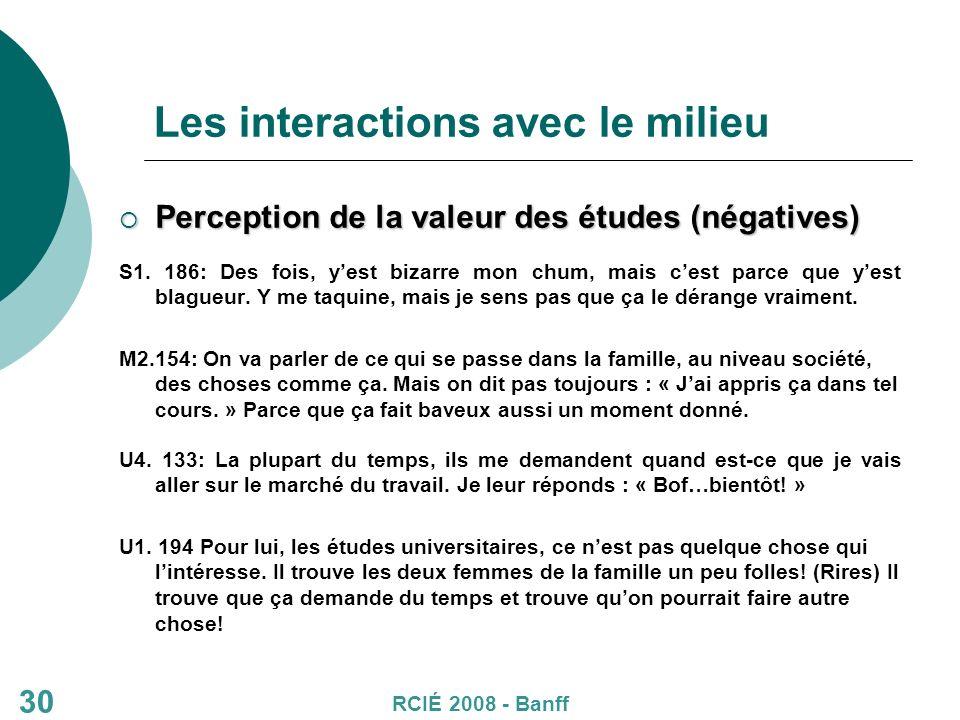 30 Les interactions avec le milieu Perception de la valeur des études (négatives) Perception de la valeur des études (négatives) S1.