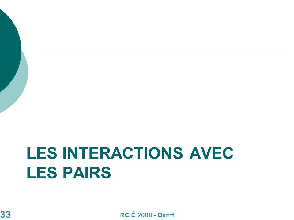 33 LES INTERACTIONS AVEC LES PAIRS RCIÉ 2008 - Banff