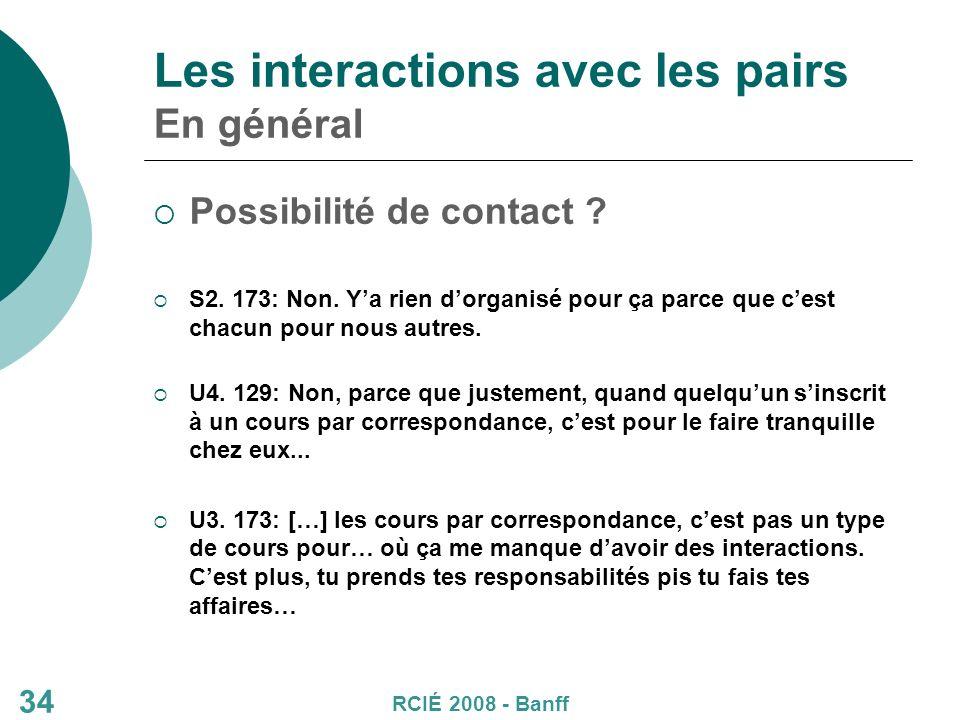 34 Les interactions avec les pairs En général Possibilité de contact .