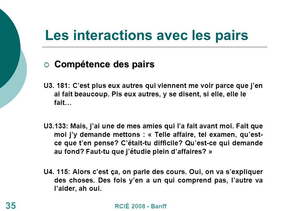35 Les interactions avec les pairs Compétence des pairs Compétence des pairs U3.