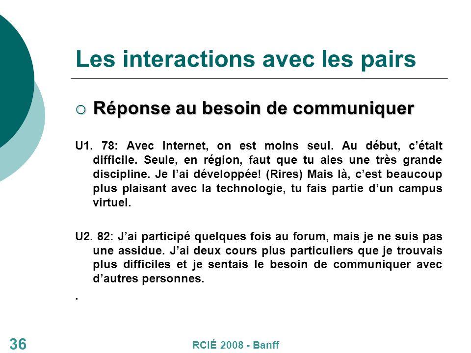 36 Les interactions avec les pairs Réponse au besoin de communiquer Réponse au besoin de communiquer U1.