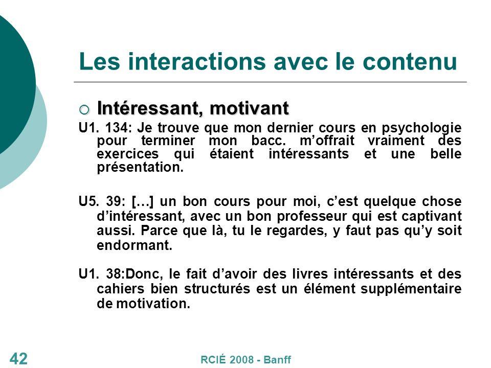 Les interactions avec le contenu Intéressant, motivant Intéressant, motivant U1.