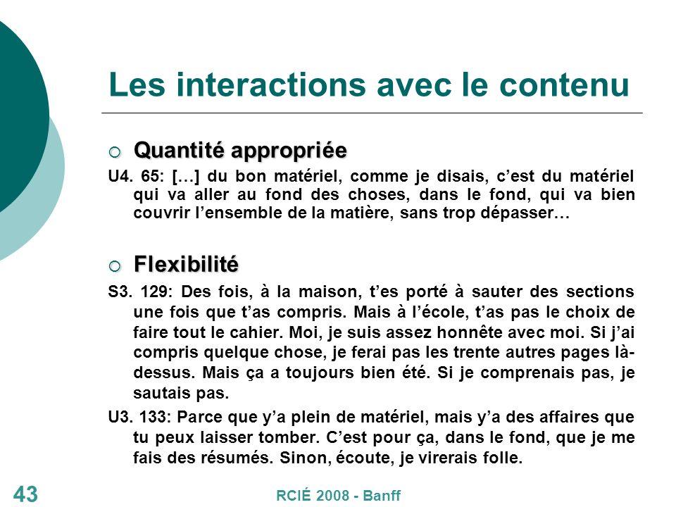 43 Les interactions avec le contenu Quantité appropriée Quantité appropriée U4.