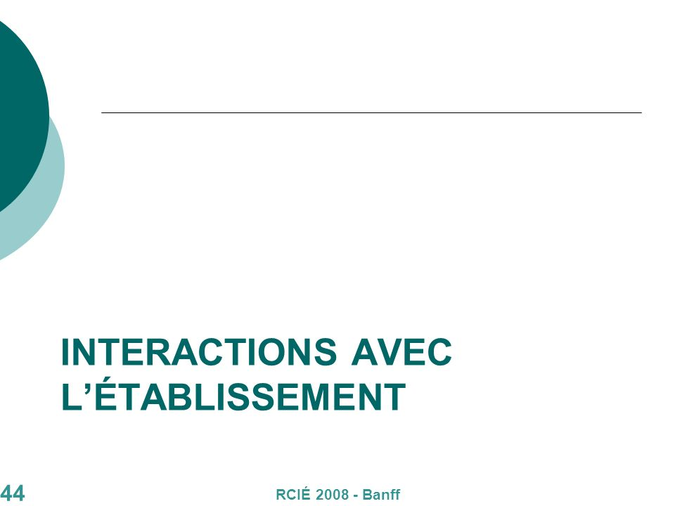 44 INTERACTIONS AVEC LÉTABLISSEMENT RCIÉ 2008 - Banff