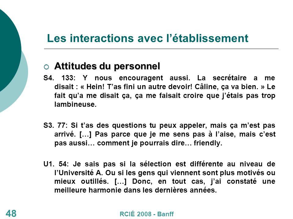 48 Les interactions avec létablissement Attitudes du personnel Attitudes du personnel S4.