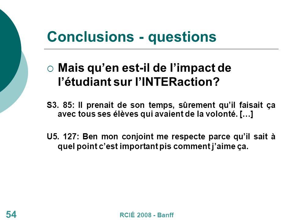 Conclusions - questions Mais quen est-il de limpact de létudiant sur lINTERaction.