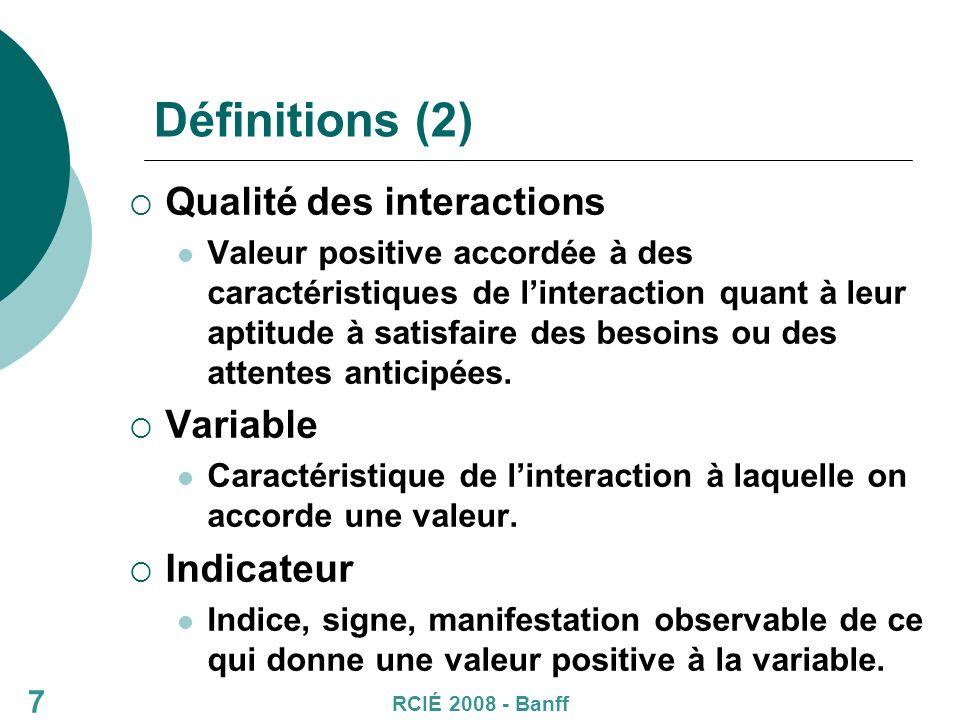 Définitions (2) Qualité des interactions Valeur positive accordée à des caractéristiques de linteraction quant à leur aptitude à satisfaire des besoins ou des attentes anticipées.