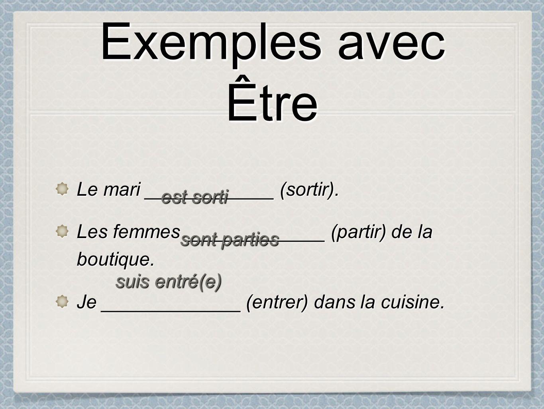 Exemples avec Être Exemples avec Être Le mari ____________ (sortir).