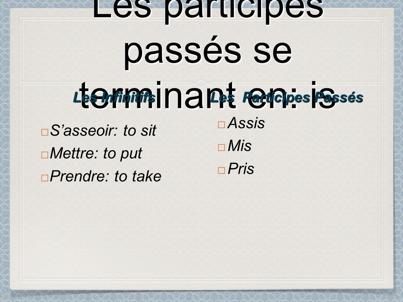 Les participes passés se terminant en: is Sasseoir: to sit Mettre: to put Prendre: to take Assis Mis Pris Les Participes Passés Les Infinitifs