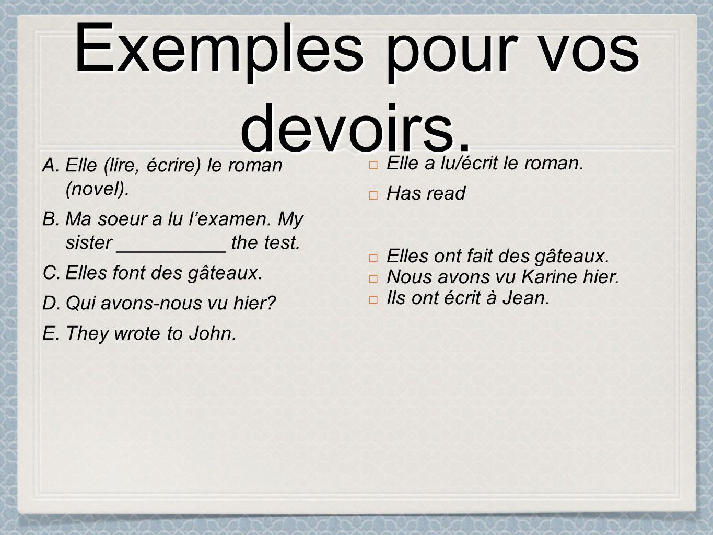 Exemples pour vos devoirs. A. A. Elle (lire, écrire) le roman (novel).