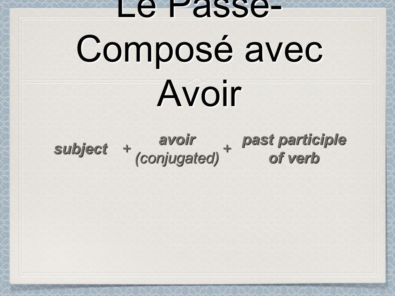 Le Passé- Composé avec Avoir Le Passé- Composé avec Avoir subject ++ avoir(conjugated) past participle of verb