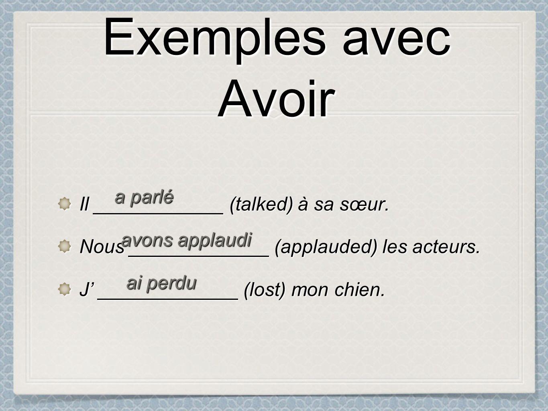 Exemples avec Avoir Exemples avec Avoir Il ____________ (talked) à sa sœur.