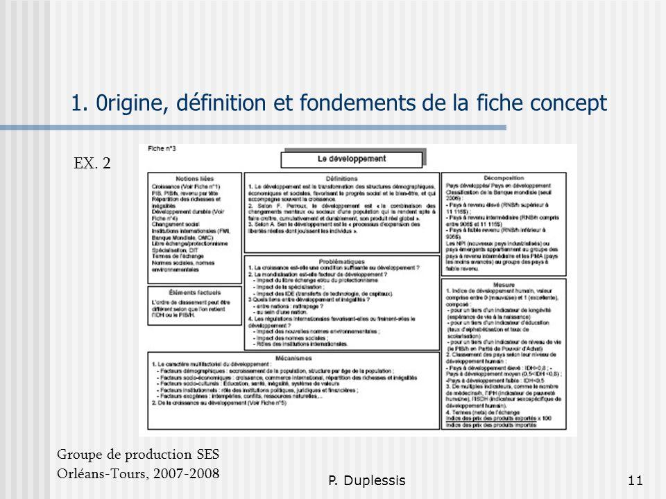 P. Duplessis11 1. 0rigine, définition et fondements de la fiche concept Groupe de production SES Orléans-Tours, 2007-2008 EX. 2