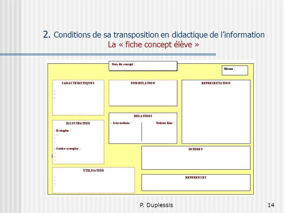 P. Duplessis14 2. Conditions de sa transposition en didactique de linformation La « fiche concept élève »