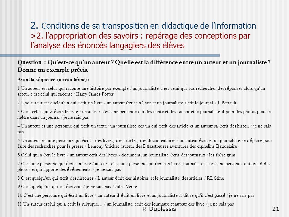 P. Duplessis21 2. Conditions de sa transposition en didactique de linformation >2. lappropriation des savoirs : repérage des conceptions par lanalyse