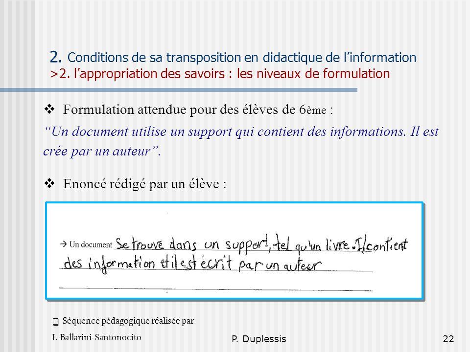 P. Duplessis22 2. Conditions de sa transposition en didactique de linformation >2. lappropriation des savoirs : les niveaux de formulation Formulation