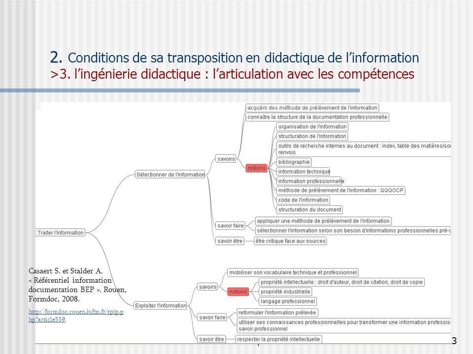 P. Duplessis23 2. Conditions de sa transposition en didactique de linformation >3. lingénierie didactique : larticulation avec les compétences Casaert