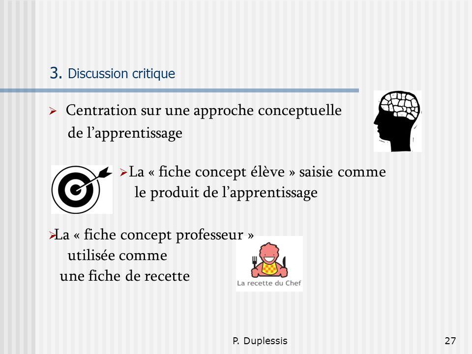 P. Duplessis27 3. Discussion critique Centration sur une approche conceptuelle de lapprentissage La « fiche concept élève » saisie comme le produit de