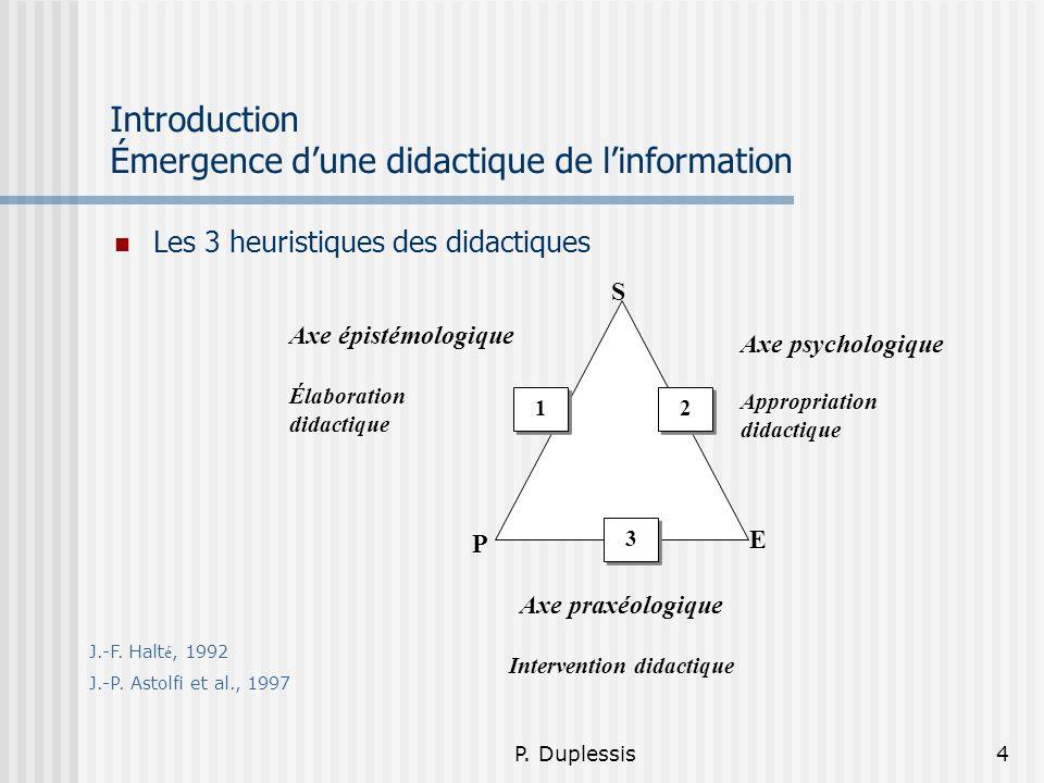 P. Duplessis4 Introduction Émergence dune didactique de linformation Les 3 heuristiques des didactiques S E P 1 1 3 3 2 2 Axe psychologique Appropriat