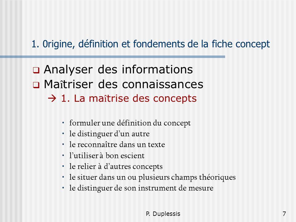 P. Duplessis7 1. 0rigine, définition et fondements de la fiche concept Analyser des informations Ma î triser des connaissances 1. La ma î trise des co