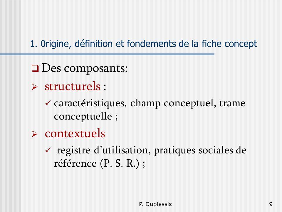 P. Duplessis9 1. 0rigine, définition et fondements de la fiche concept Des composants: structurels : caractéristiques, champ conceptuel, trame concept