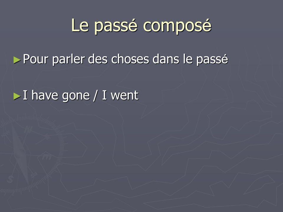Le pass é compos é Pour parler des choses dans le pass é Pour parler des choses dans le pass é I have gone / I went I have gone / I went