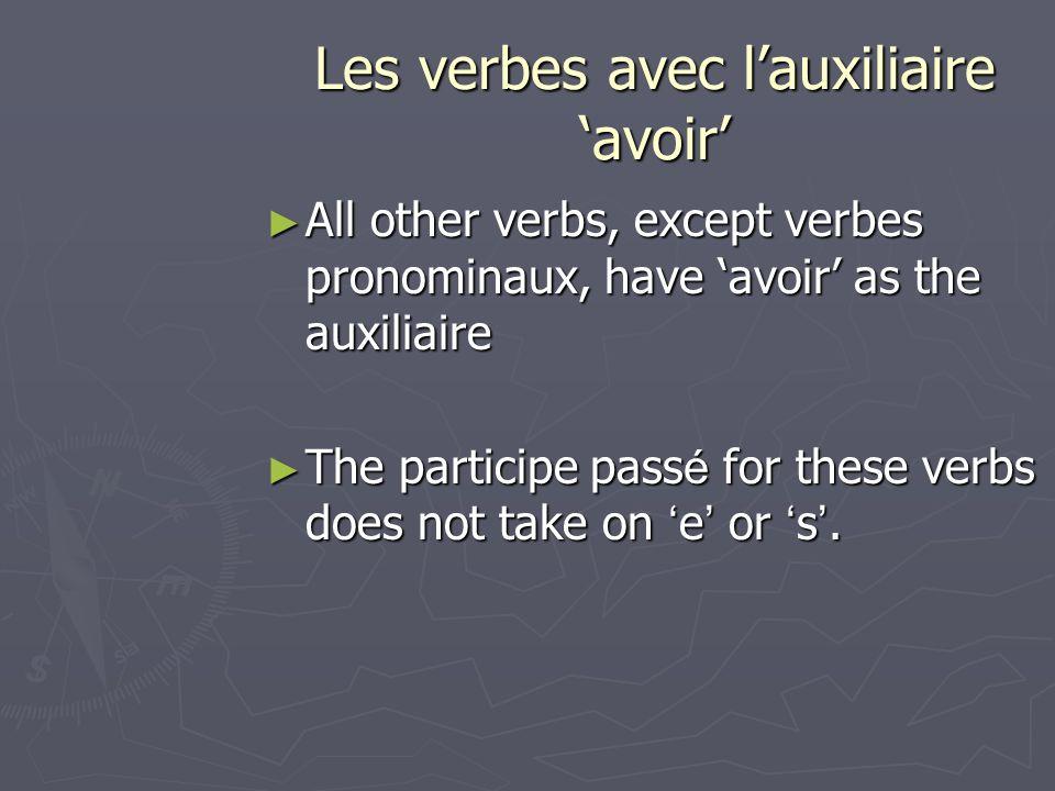 Les verbes avec lauxiliaire avoir All other verbs, except verbes pronominaux, have avoir as the auxiliaire All other verbs, except verbes pronominaux,