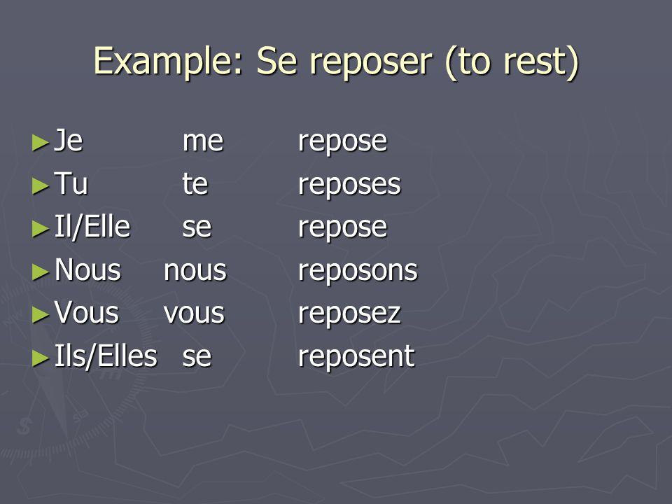 Example: Se reposer (to rest) Je merepose Je merepose Tu tereposes Tu tereposes Il/Elle serepose Il/Elle serepose Nousnousreposons Nousnousreposons Vo