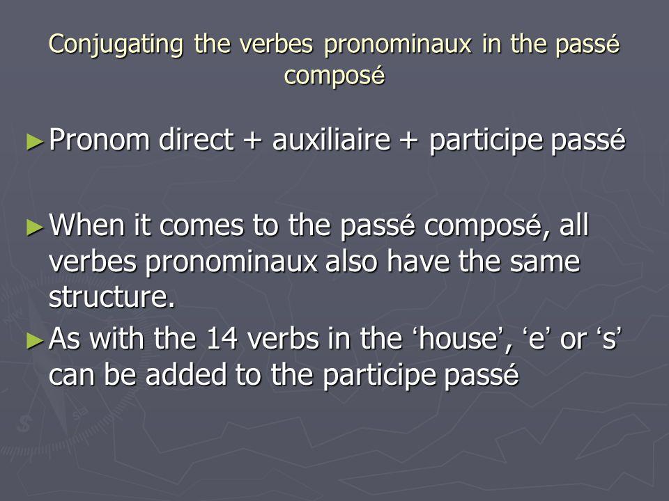 Conjugating the verbes pronominaux in the pass é compos é Pronom direct + auxiliaire + participe pass é Pronom direct + auxiliaire + participe pass é