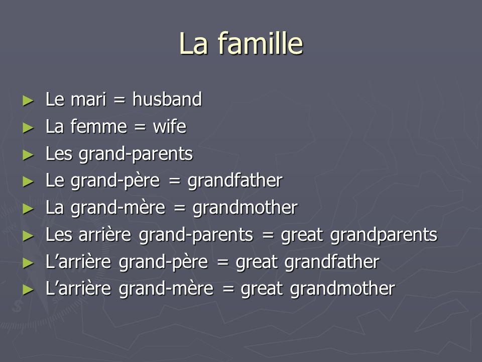 La famille Le mari = husband Le mari = husband La femme = wife La femme = wife Les grand-parents Les grand-parents Le grand-père = grandfather Le gran