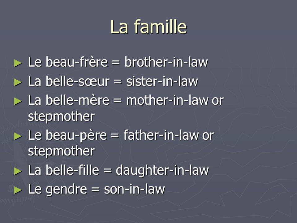 La famille Le beau-frère = brother-in-law Le beau-frère = brother-in-law La belle-s œ ur = sister-in-law La belle-s œ ur = sister-in-law La belle-m è