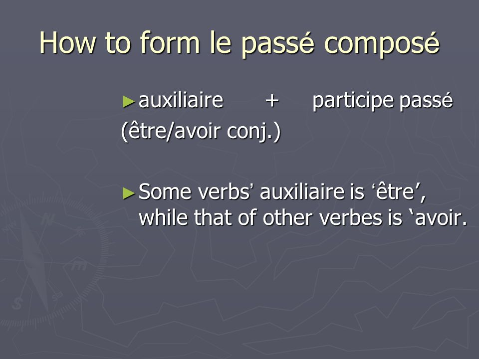 Mais (but) Pour (in order to/purpose) parce que (because) Donc (therefore) Alors (so)