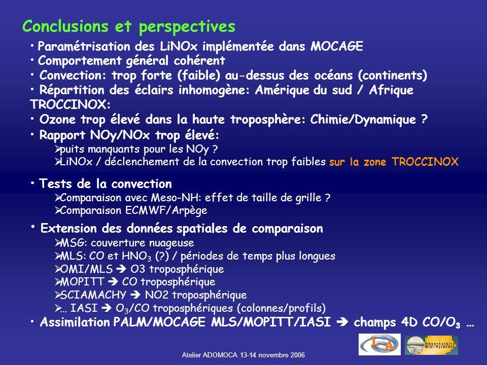 Atelier ADOMOCA 13-14 novembre 2006 Falcon Geophysica NO NO y NO: Sous-estimation dans la haute tropo. déclenchement de la convection dans le domaine