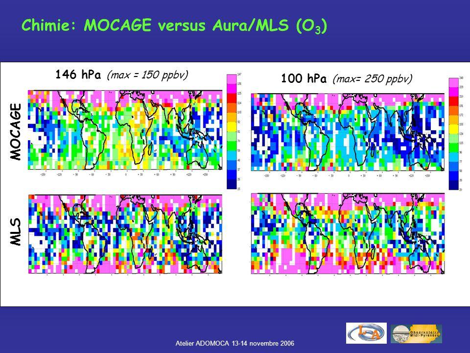 Atelier ADOMOCA 13-14 novembre 2006 Chimie: MOCAGE versus Aura/MLS (O 3 ) 146 hPa (max = 150 ppbv) 100 hPa (max= 250 ppbv) MOCAGE MLS
