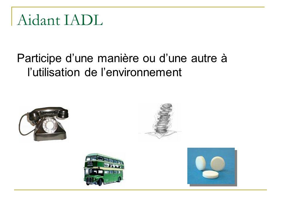 Aidant IADL Participe dune manière ou dune autre à lutilisation de lenvironnement