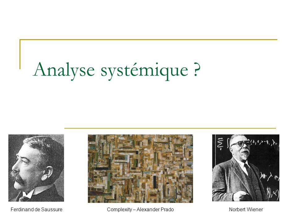 Définition Analyse faite selon les principes de la systémique, un champ interdisciplinaire relatif à l étude d objets complexes réfractaires aux approches de compréhension classique.