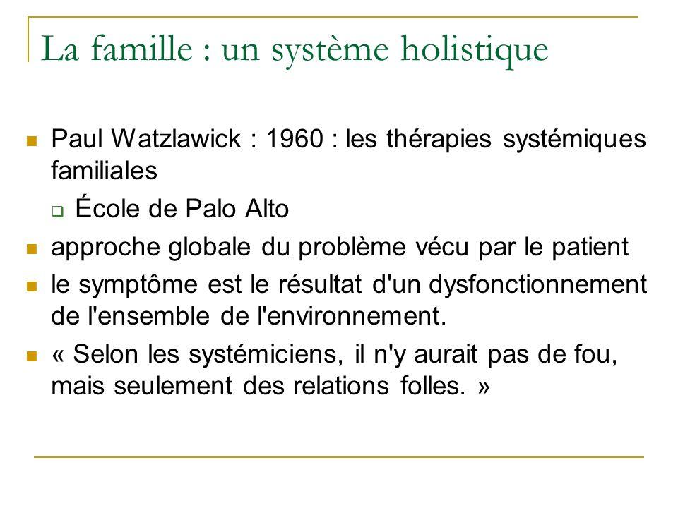 La famille : un système holistique Paul Watzlawick : 1960 : les thérapies systémiques familiales École de Palo Alto approche globale du problème vécu par le patient le symptôme est le résultat d un dysfonctionnement de l ensemble de l environnement.