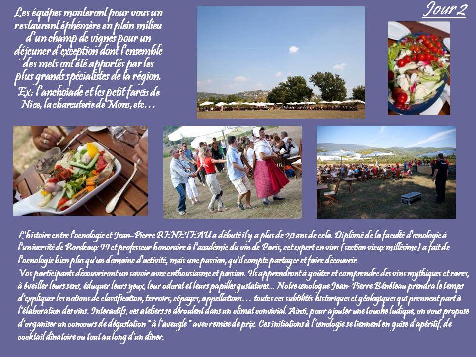 Jour 2 Les équipes monteront pour vous un restaurant éphémère en plein milieu dun champ de vignes pour un déjeuner dexception dont lensemble des mets
