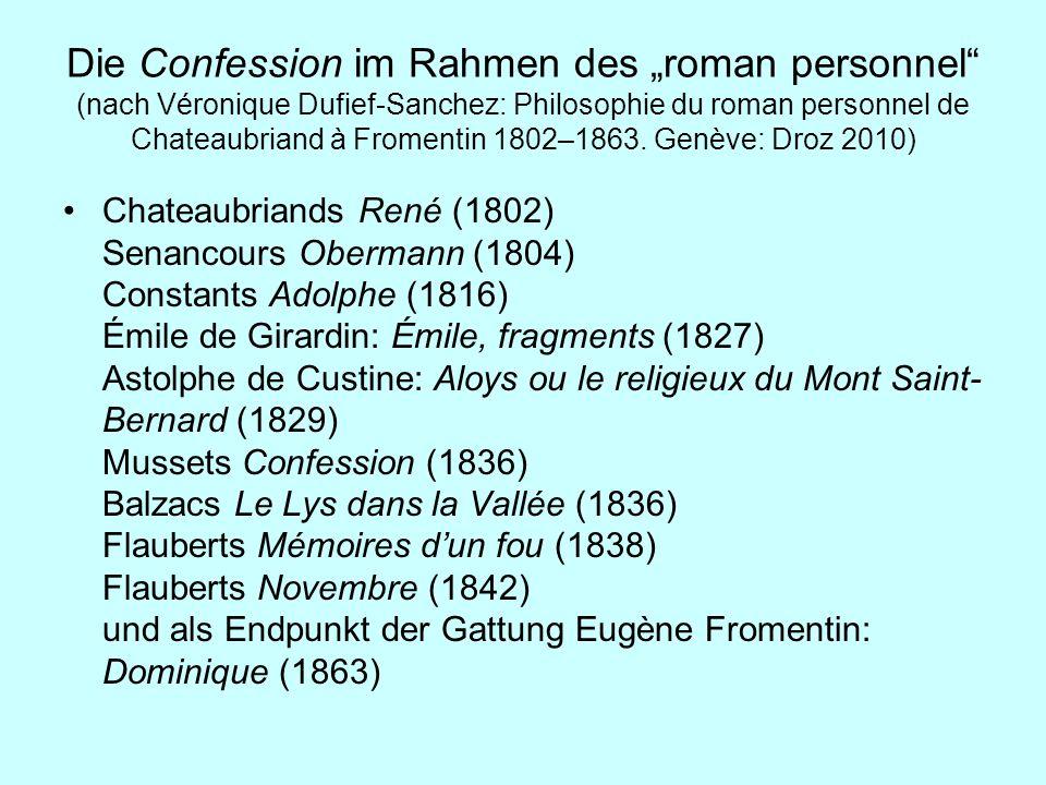 Die Confession im Rahmen des roman personnel (nach Véronique Dufief-Sanchez: Philosophie du roman personnel de Chateaubriand à Fromentin 1802–1863. Ge